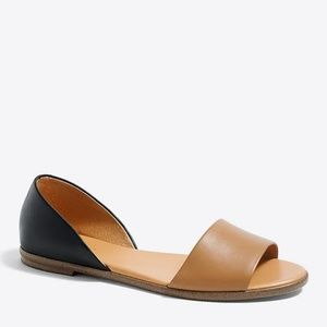 J.CREW MORGAN LEATHER PEEP TOE FLATS BROWN BLACK 9